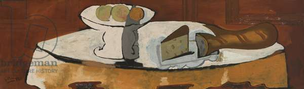 Compote, Bread and Cheese, 1946 (oil & sand on canvas)