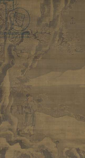 Untitled [Landscape and Figure], early 16th century (ink & colour on silk)