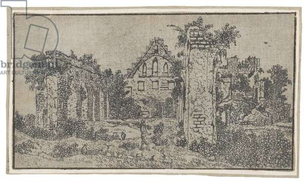 Ruins of the Abbey of Rijnsburg (etching on green paper with pink washes)