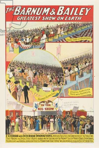 The Barnum & Bailey Greatest Show on Earth: Exterior and Interior Innovations, 1903 (colour litho)