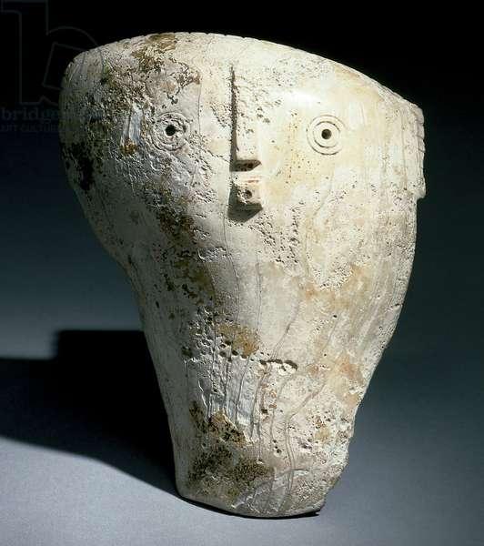 Mask gorget, late Mississippian culture, c.1300-1500 (marine conch shell (buscyon perversum))