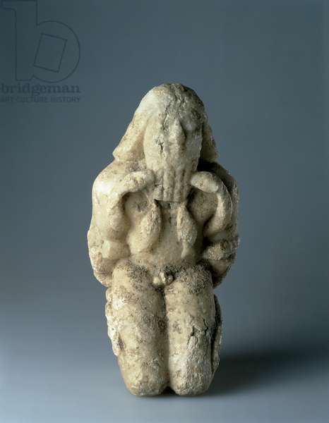 Kneeling figure bound with serpents, early dynastic period (2600-2400 BC) (alabaster)