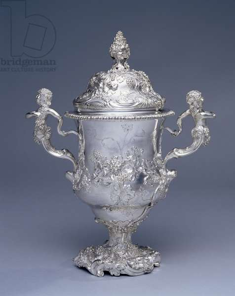 Two-handled cup and cover, c.1750 (silver)
