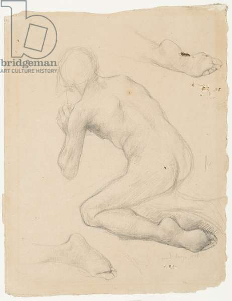 "Figure Study for ""Annunciation to the Shepherds"" (pencil & chalk on paper)"