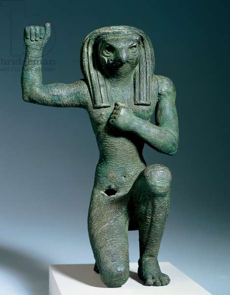 Falcon-headed god in pose of 'Soul of Pe', 22nd Dynasty (945-712 BC) (bronze)