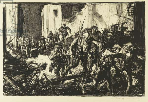 Canadians Entering Cambrai, 1914-19 (litho)