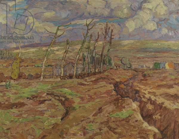 Vimy Ridge from Souchez Valley, 1917 (oil on canvas)
