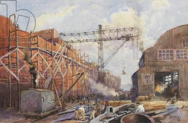 Polson Iron Work Yard, Ship War Hydra on Stocks, 1918 (w/c on paper)
