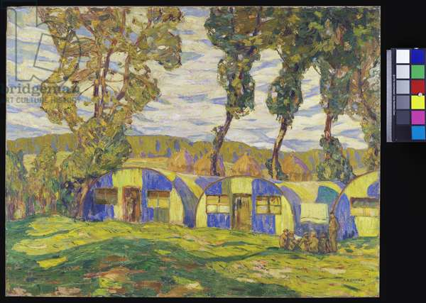 Camouflaged Huts, Viller au Bois, 1917 (oil on canvas)