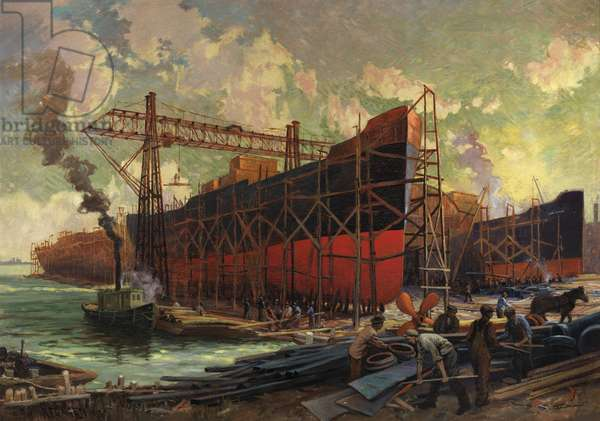 Shipbuilding in Ashbridges Bay, Toronto, 1918 (oil on canvas)