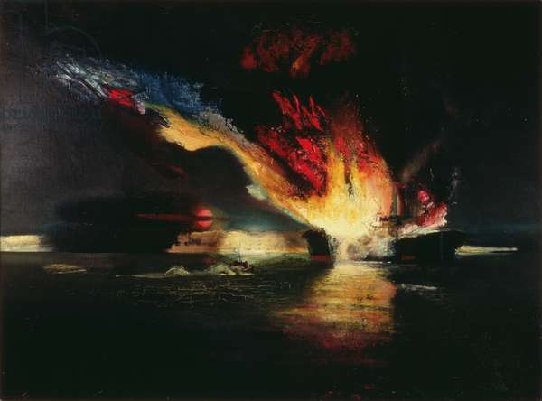 Light Coastal Forces Blow Up An Enemy Merchantman, 1943 (oil on canvas)