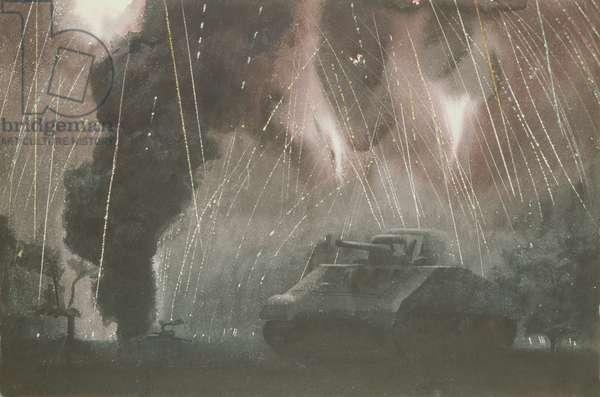 Night Air Raid, c.1941 (w/c on paper)