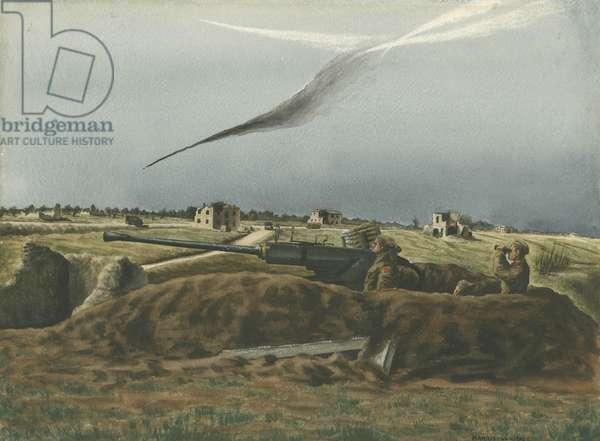 Focke-Wulf 190 Shot Down over Berardi Crossroads, 1944 (w/c on paper)