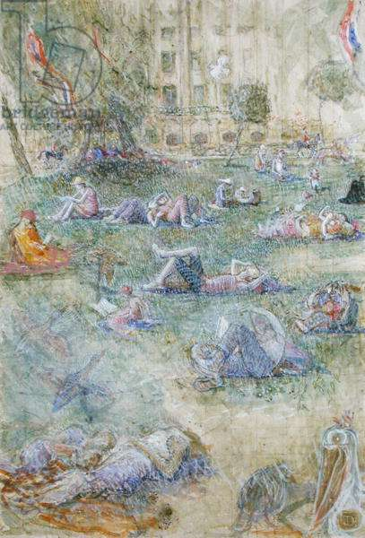 Summer in St. James's Park (tempera on paper)