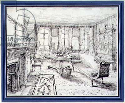 An English Regency country house interior, 1838 (pen & sepia ink on paper)