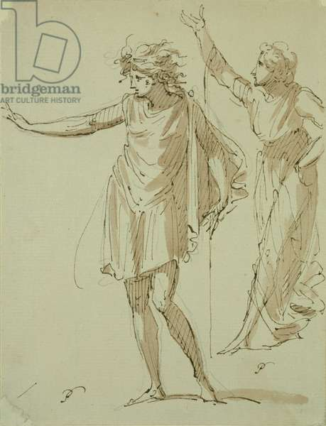 Study of Two Classically Draped Figures, c.1790 (pen & ink and wash on paper)