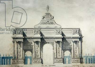 Arc de Triomphe, after the designs by Claude Perrault (1613-78) (w/c & gouache on paper)