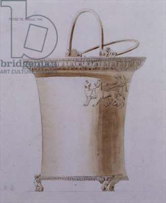Design of a sacrificial ewer from the Musee de Naples, 1829 (pencil with sepia wash on paper)
