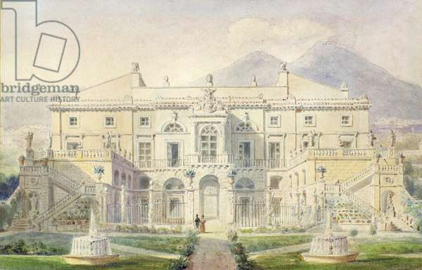 View of a Villa on the Bay of Naples (w/c on paper)