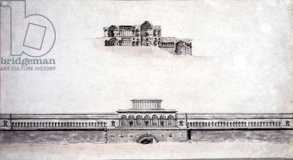 Design for a Neo-Classical Palace, 1780 (pen & ink and w/c on paper)