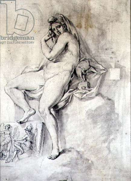 Female Personification of Sculpture, c.1770 (pen & ink on paper)