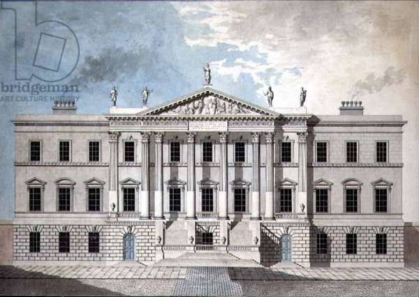 Design for a Neo-Classical Town Palace, 1777 (pen & ink and w/c on paper)