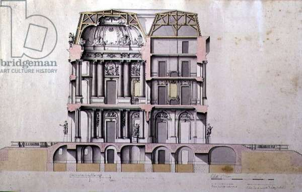 Cross-section of a Mansarded Chateau, c.1690 (pen & ink and w/c on paper)