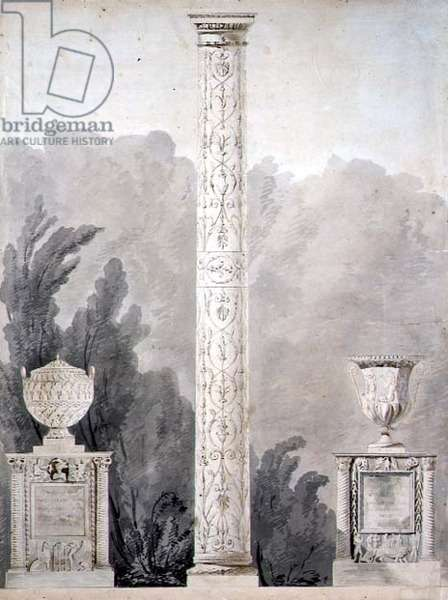 Designs for Neo-Classical monuments, 1810 (pen & ink with w/c on paper)