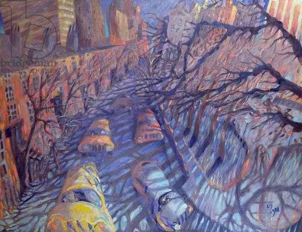 Wind on Washington Square, New York City, 1988 (oil on canvas)