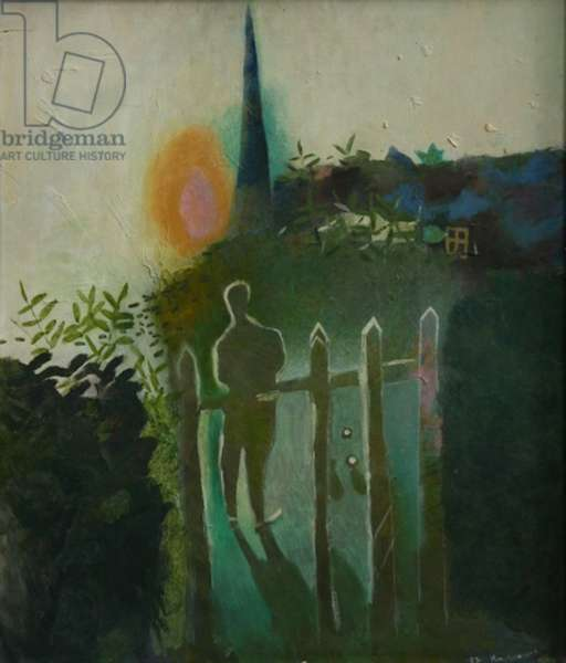 Sun Setting, The Bowling Green (oil on canvas)