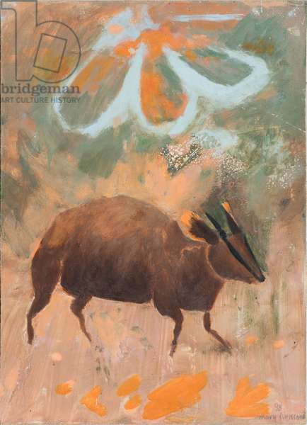 Muntjac the Rib-face Deer, 1998 (oil on board)