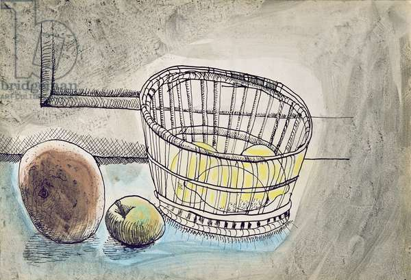 Basket and Fruit, 1942 (pen & w/c on paper)