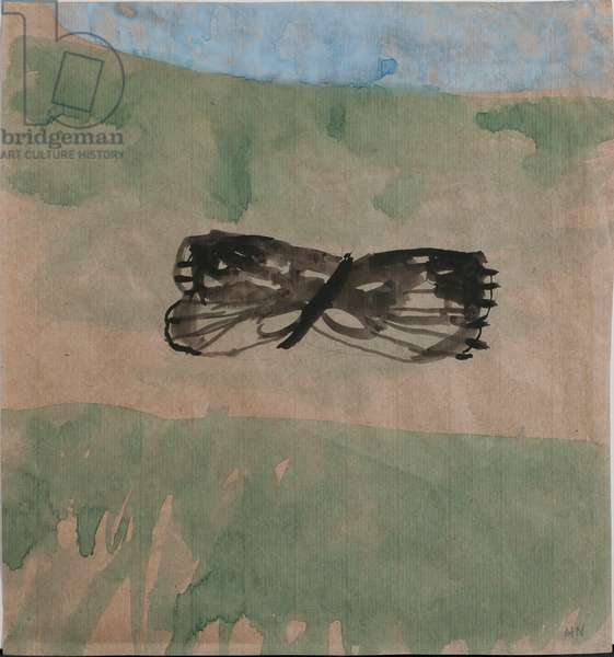 Ragged Marbled Whites flying across a deep valley at Nailsworth (w/c on paper)