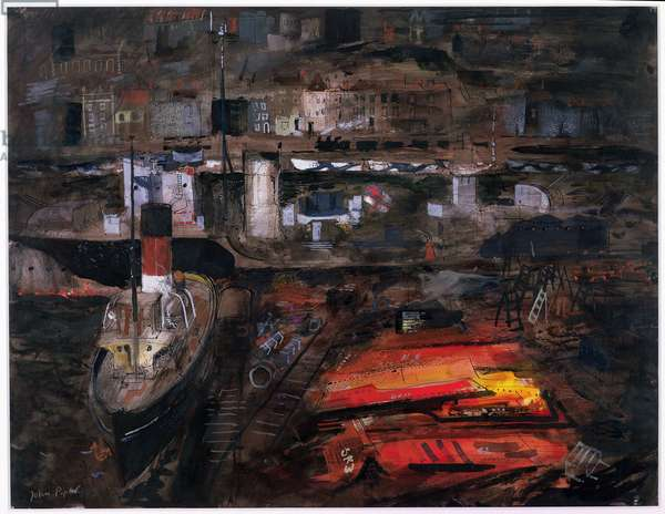Port in Wartime (Cardiff) c.1944 (w/c, ink, gouache, chalk on paper)