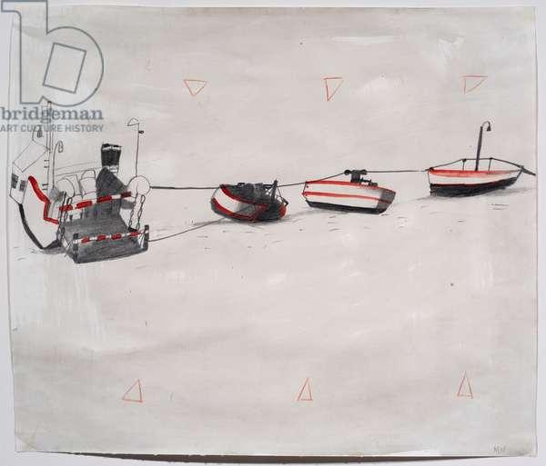 Car Ferry, Holland, 1994 (w/c & pencil on paper)