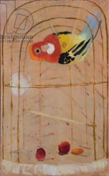 Parakeet with Fresh Cherries, 1991 (oil on canvas)