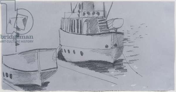 Pleasure Boat on the Norfolk Broads (pencil on blue paper)