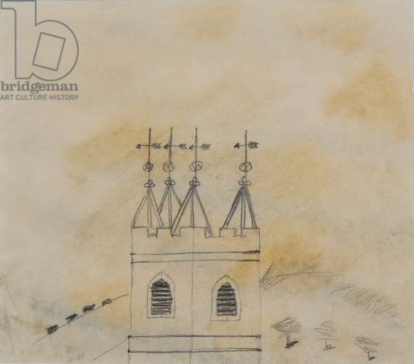 Church Tower (pencil & wash on paper)