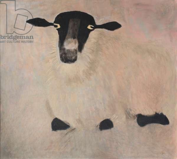Suffolk Ewe Sitting Down, 1992 (oil on canvas)