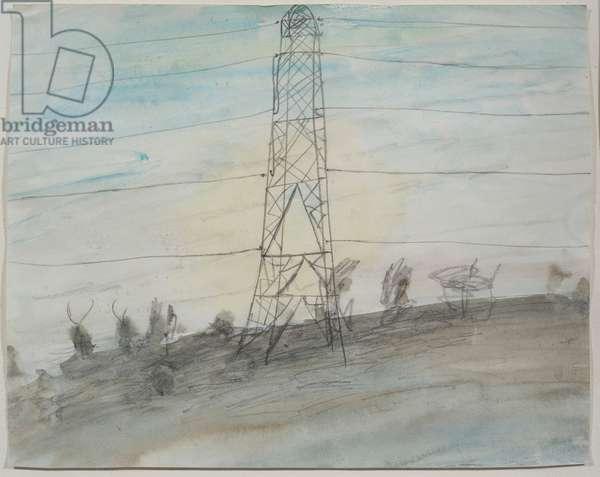 Pylon in the Rain, 1989 (pencil & wash on paper)