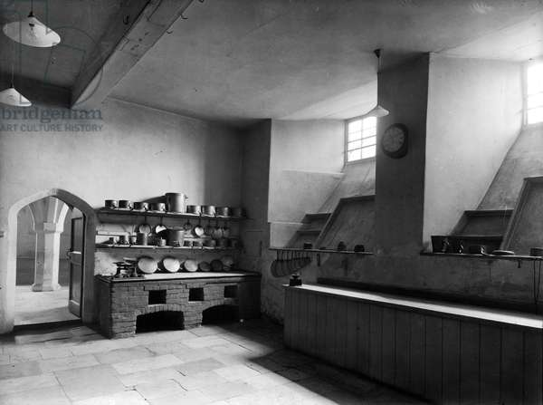 The kitchen at Lulworth Castle, Dorset, from 'England's Lost Houses' by Giles Worsley (1961-2006) published 2002 (b/w photo)