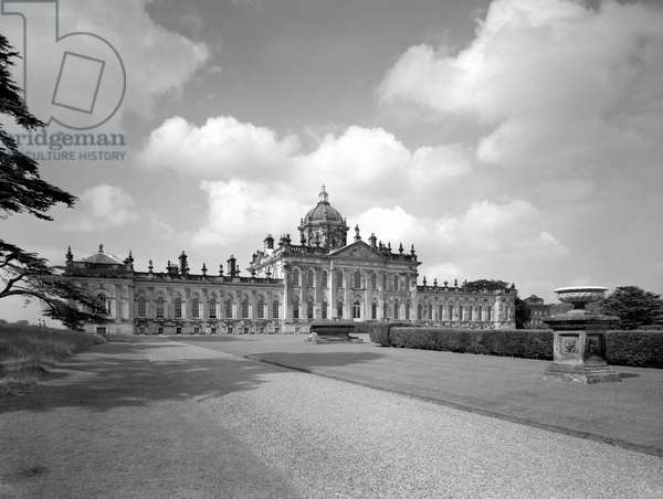 The south front, Castle Howard, North Yorkshire, from 'The Country Houses of Sir John Vanbrugh' by Jeremy Musson, published 2008 (b/w photo)