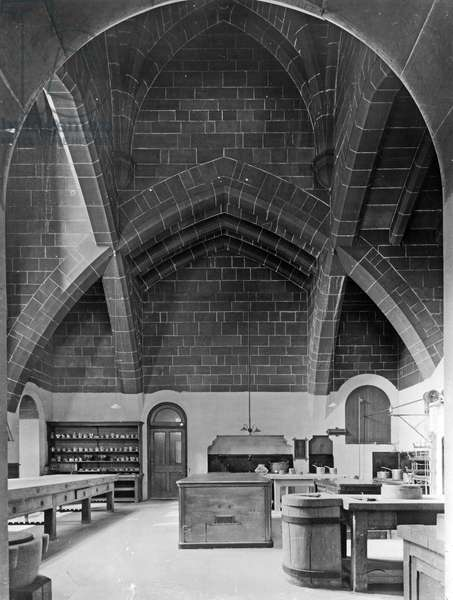 The Kitchen, Alnwick Castle, Northumberland, from 'The English Country House' (b/w photo)