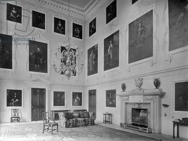 The hall, Kings Weston House, Bristol, from 'The Country Houses of Sir John Vanbrugh' by Jeremy Musson, published 2008 (b/w photo)