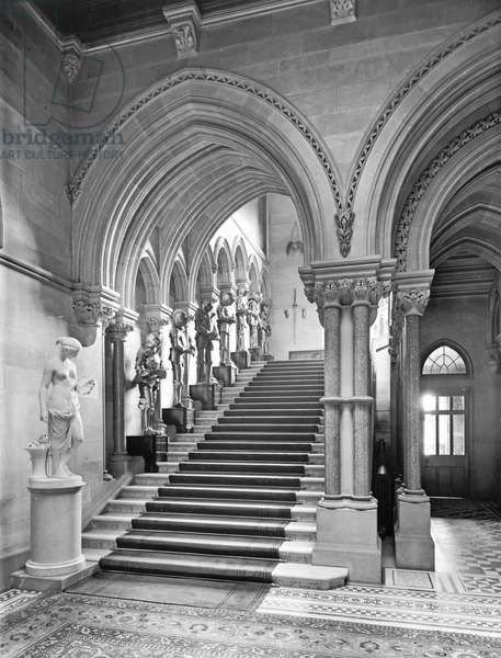 The main staircase, Eaton Hall, Cheshire, from 'The English Country House' (b/w photo)