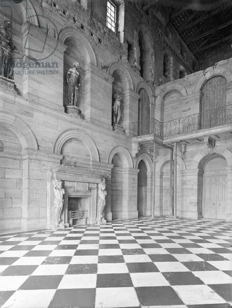 The main hall at Seaton Delaval, Whitley Bay, Northumberland, from 'The Country Houses of Sir John Vanbrugh' by Jeremy Musson, published 2008 (b/w photo)