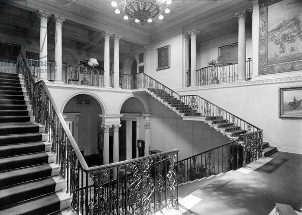 The great staircase, Dodington Park, Gloucestershire, from 'Country Houses of the Cotswolds' (b/w photo)
