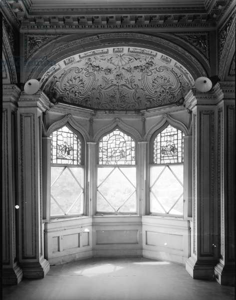 A window bay in the Teddington Room at Radnor House, Middlesex, from 'England's Lost Houses' by Giles Worsley (1961-2006) published 2002 (b/w photo)