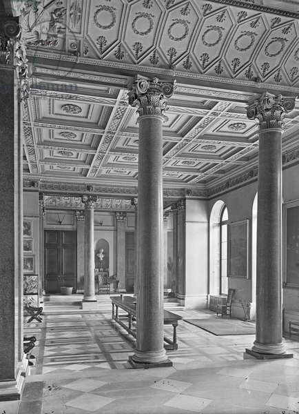 The entrance hall, Dodington Park, Gloucestershire, from 'Country Houses of the Cotswolds' (b/w photo)