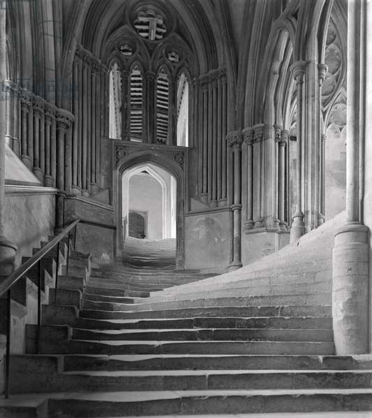 Interior Stairway of the Chapter House, Wells Cathedral (b/w photo)